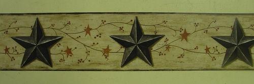 Primitive Country Stars Berries Brown Wallpaper Border | eBay