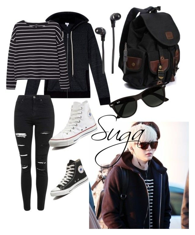 """Suga inspired airport outfit"" by bts4ever ❤ liked on Polyvore featuring Splendid, MANGO, Topshop, Converse, Merkury Innovations, Ray-Ban, women's clothing, women, female and woman"