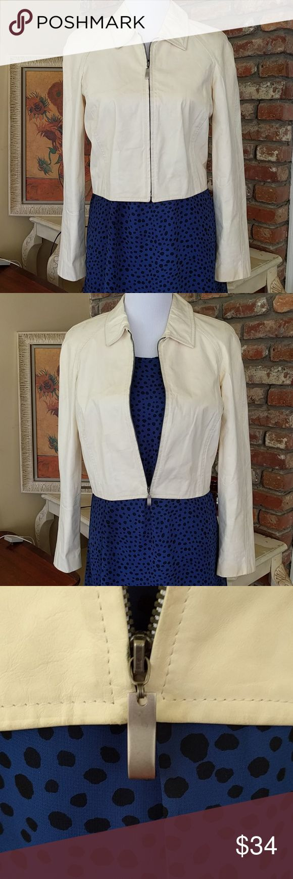 Dana Buchman cream calfskin jacket Cream zip up 100% calfskin leather jacket. Needs professional cleaning from a leather and suede expert. See images. Some dirt, but no major stains or tears in the leather. In great shape with a sturdy brushed nickel zipper. Size 6, hits at waist. Dana Buchman Jackets & Coats Blazers