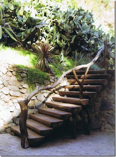 Natural Look For Banister For Outdoor Steps Garden
