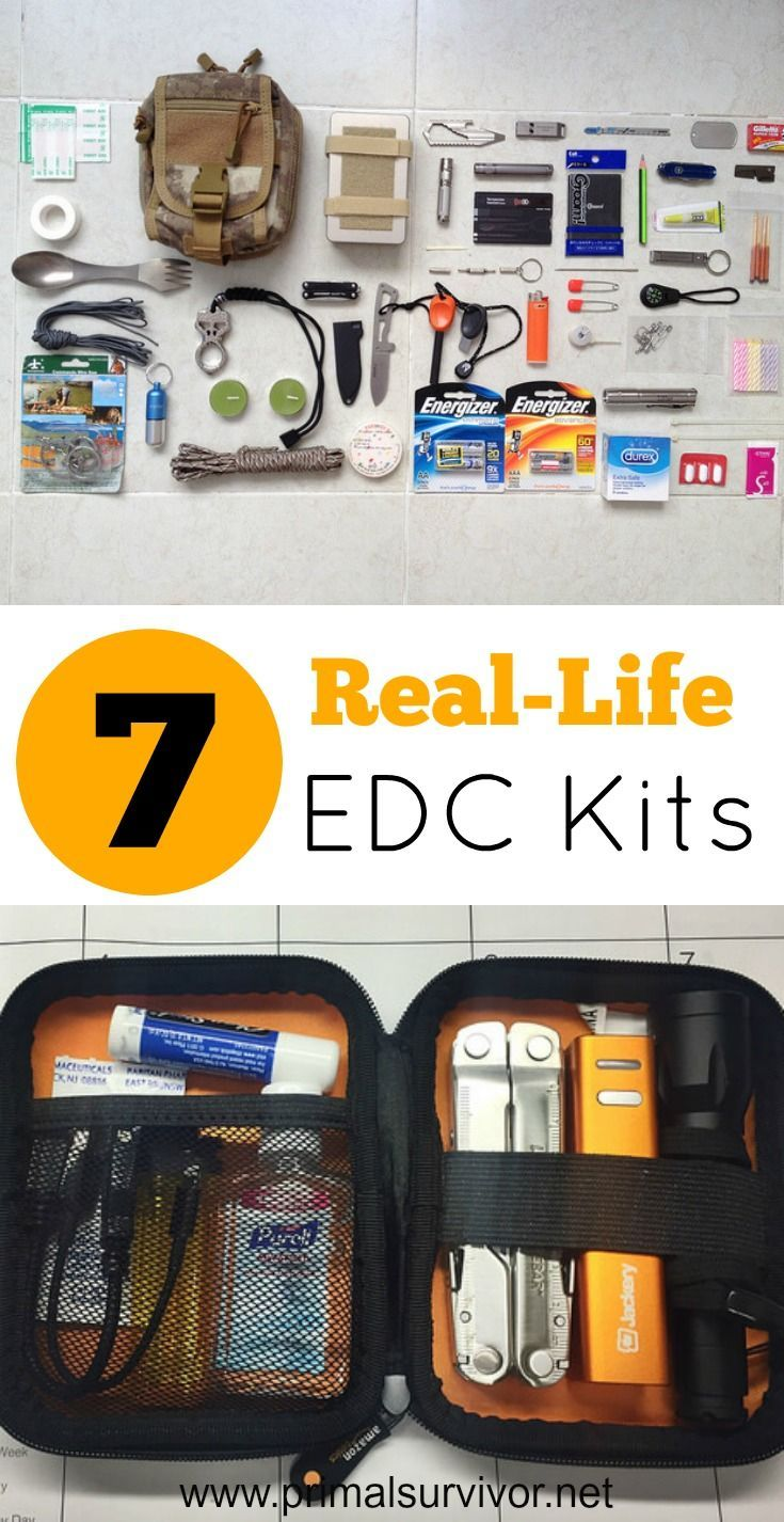 7 Real-Life Examples of EDC Kits. A good EDC kit will contain must-have survival items and items that you actually use on a regular basis. Since everyone has different survival needs, I decided not to give an EDC checklist.  Instead, here are examples of real-life EDC kits.  Let these EDC kits inspire you to build your own. An essential piece of survival kit for all of those serious about emergency preparedness. #everydaycarry #survivalgear #disasterplanning #emergencypreparedness…