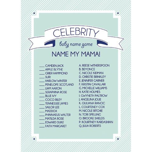 Entertain your guests with this trendy baby shower game, where you match the celebrity with their baby's name. Featuring a preppy aqua and white stripe border, and white scrolls and rattles on a navy