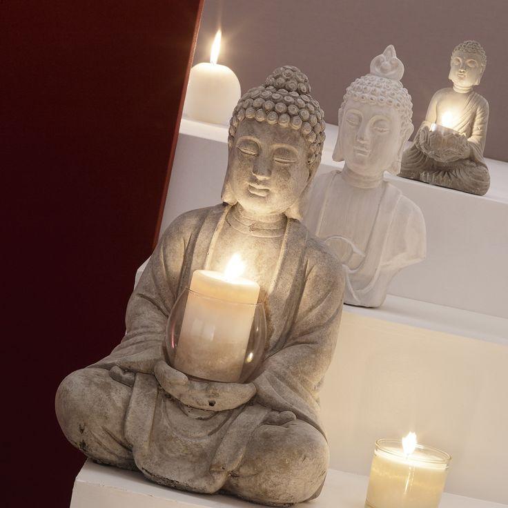 Photophore bouddha en ciment H 19 cm SÉRÉNITÉ | Maisons du Monde