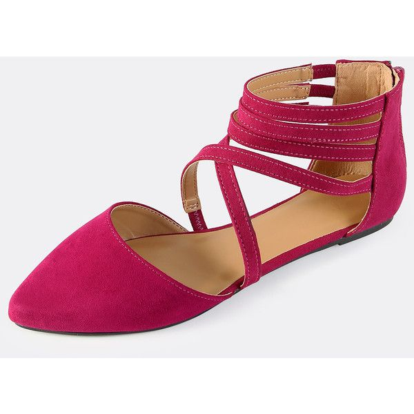 Multi Strap Closed Toe Flats FUSCIA ❤ liked on Polyvore featuring shoes, flat shoes, flat pumps, closed toe shoes, flat closed toe shoes and flat pump shoes