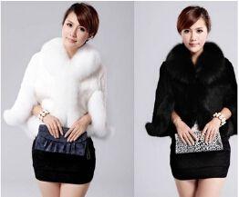 Чёрный / белый осень зима женщины искусственный мех пальто куртка мех жилет короткая мех мыс B0818
