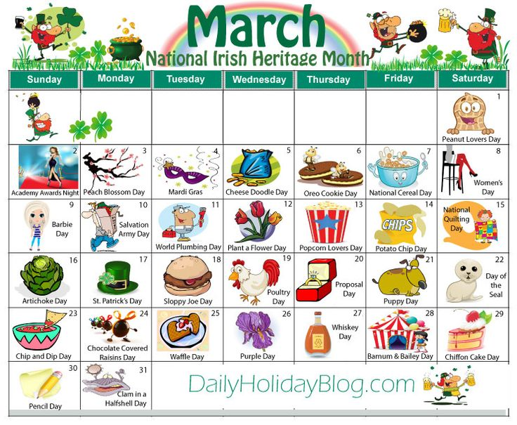 march calendar daily holidays