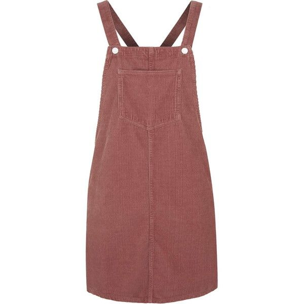 TopShop Moto Dusty Pink Cord Pinafore Dress ($75) ❤ liked on Polyvore featuring dresses, skirts, overalls, red, dusty pink, pinny dress, topshop dresses, button dress, dusty pink dress and pinafore dress
