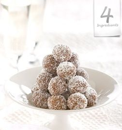 CHOCOLATE BALLS  Great for Kid's Parties.  Makes 32.  250g (9 oz.) pkt sweet biscuits, crushed  4 tablespoon cocoa powder  400g / 14oz can condensed milk  ½ cup desiccated coconut  Mix crushed biscuit, cocoa and condensed milk together to make a sticky consistency. Using a generous teaspoon of mixture, roll into balls and cover in coconut. Chill before serving. These can also be frozen.  TIP: Remove from freezer straight into the lunchbox, by morning tea they are 'just right' to eat.