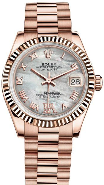 Rolex Datejust 31mm $27,810 #Rolex #watch #watches #chronographes 18ct Everose Gold, Fluted
