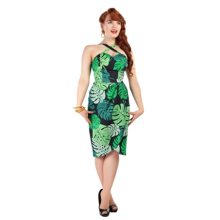 Mahina Tahiti Palm Print Sarong Dress