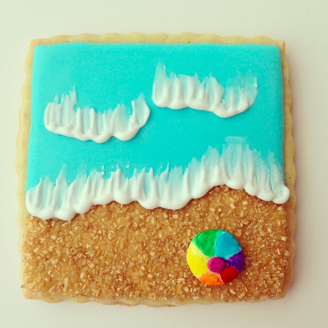 Beach, sea, sand, sun and starfish decorated sugar cookies by askanam, available on Etsy