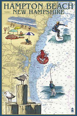 Hampton Beach, New Hampshire - Nautical Chart - Lantern Press Poster
