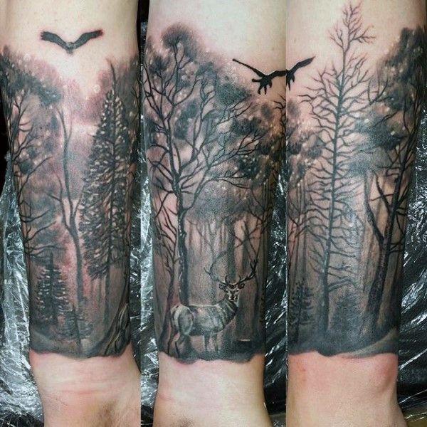 "27 Awesome Picturesque Landscape Tattoo Designs: Attēlu Rezultāti Vaicājumam ""forest Tattoo Drawing"