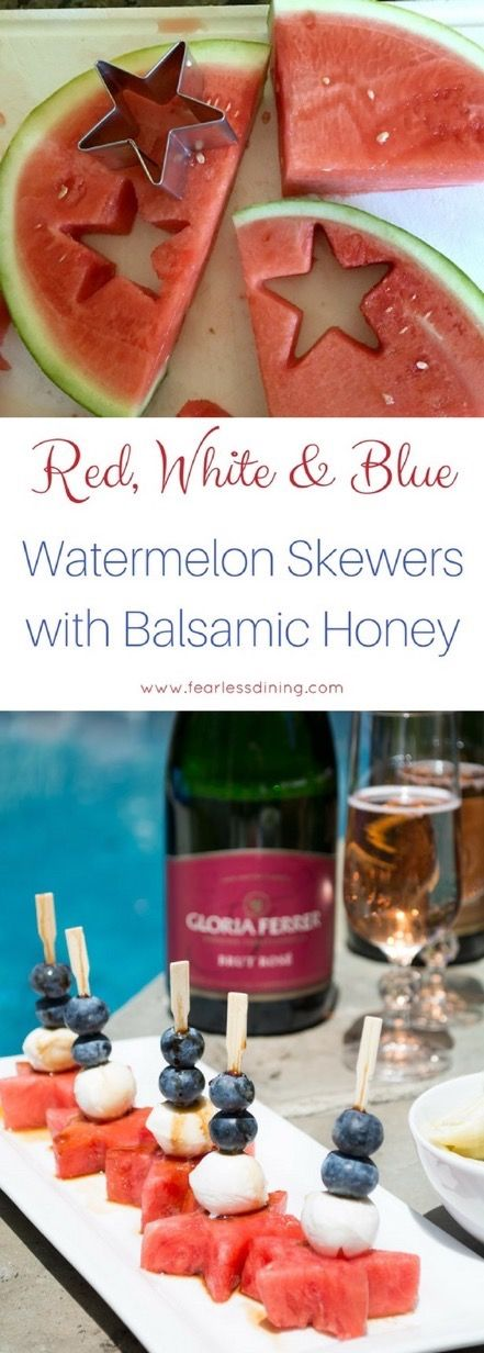 You will love these easy red, white and blue fruit skewers. Drizzle balsamic honey on top. These fruit skewers make awesome appetizers. Gluten free picnic food. via @fearlessdining