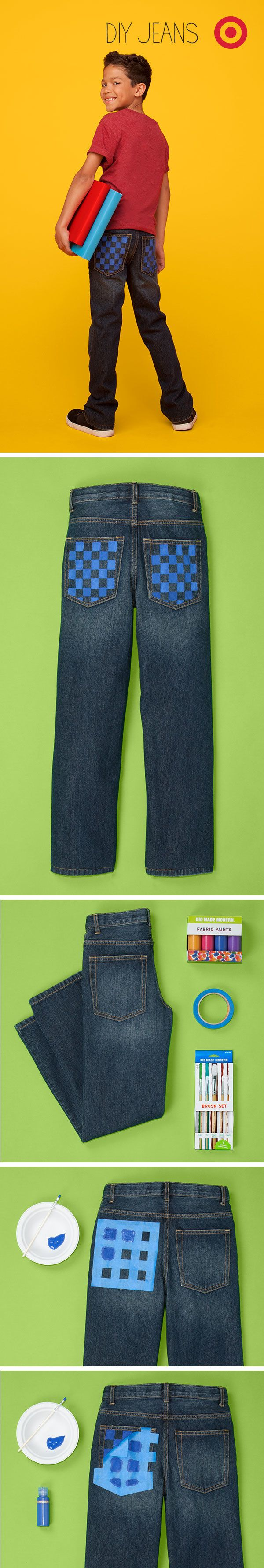 Check out this stylishly cheeky checkerboard pattern on the back pocket of these kids' jeans.