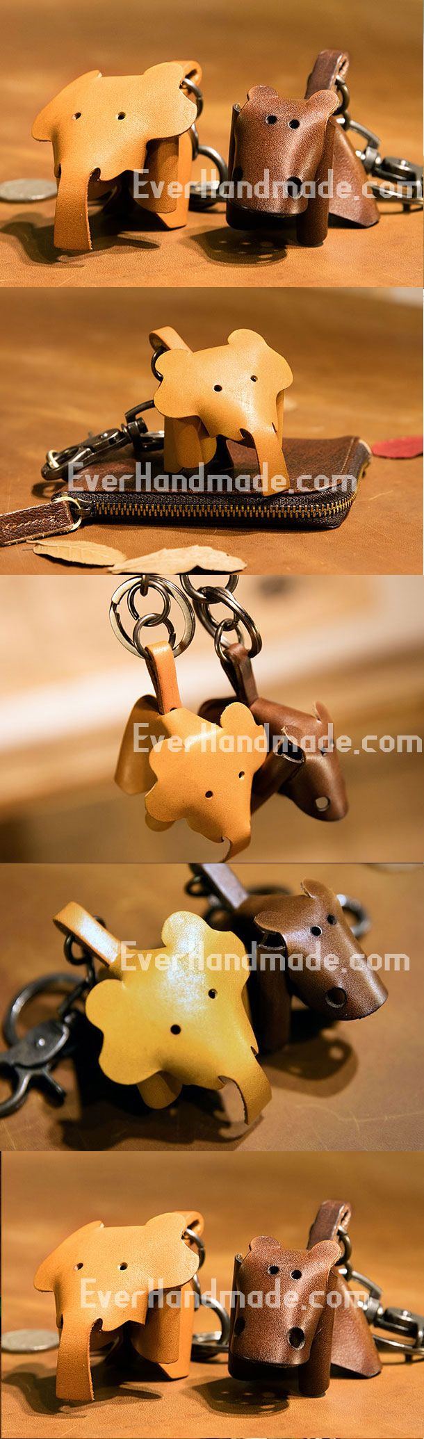 Handmade Elephant Hippo Key Wallet Keychain Leather Wallet