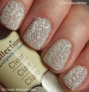 The pearl makes you stand out, but in a traditional-with-a-twist way. Your perfect manicure can pay homage to your favorite gem, but stays neutral so it doesn't distract. Texture is the way to go, and this awesome DIY caviar manicure version of the Ciate caviar manicure is perfect.