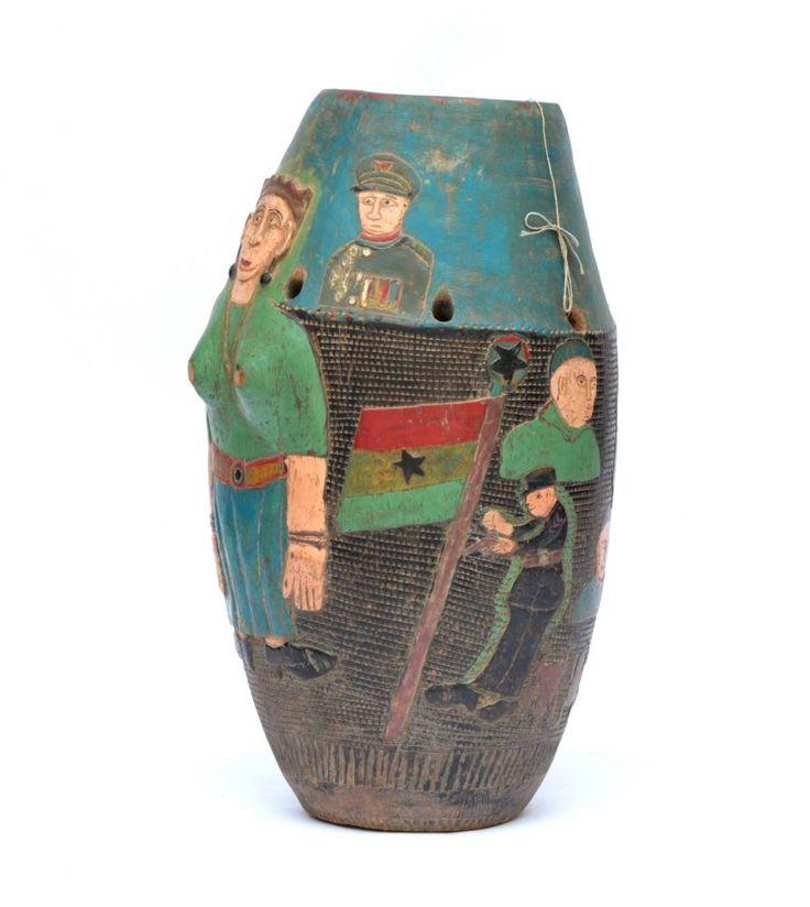 Colonial African Akan Drum #1675 | Drums | Instruments — Deco Art Africa - Decorative African Art - Ethnic Tribal Art - Art Deco