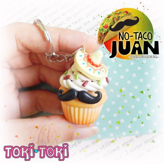 Cupcake Taco Keychain Mexican Mustache Taco by MadeByTokiToki