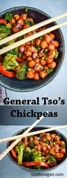 General Tso's Chickpeas | http://yupitsvegan.com. Sweet and savory #vegan stir-fry of chickpeas with broccoli and red pepper, a healthier version of the restaurant classic. Vegetarian and gluten-free.