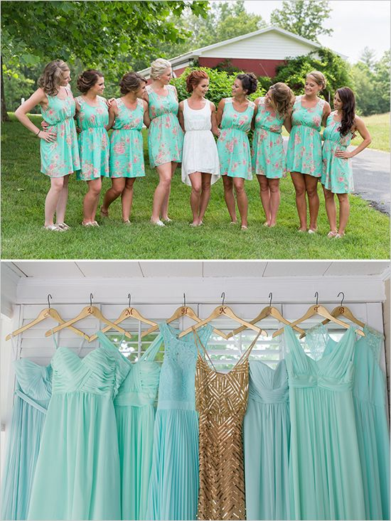 Gold And Mint Vintage Wedding Gold Bridesmaids Gold And