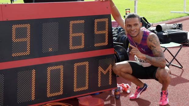 Olympic Bronze medalist Andre De Grasse of Canada followed on from his win in Oslo. His fastest ever 100m time albeit with a howling 4.8 tail wind. De Grasse clocked 9.69. Five other men also used the strong wind to dip under 10 seconds. Meite (COT) was again in the top three this week in 9.84.   #2010 FIFA World Cup #2018 Winter Olympics #Akeem Haynes #Andre De Grasse #Anki (company) #App Store (iOS) #Apple Worldwide Developers Conference #Application programming interface