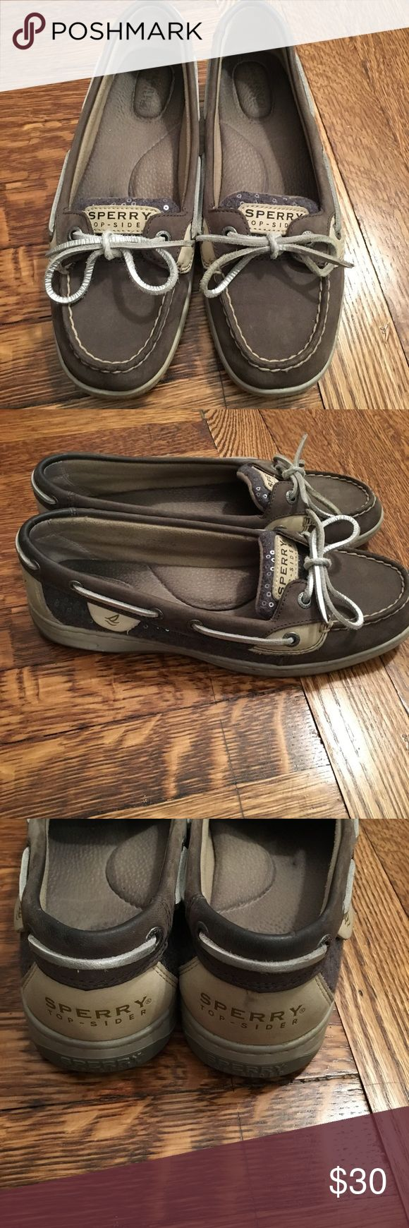 Sperry Angelfish Boat Shoes Grey boat shoes.  Size 8 Sperry Top-Sider Shoes Flats & Loafers