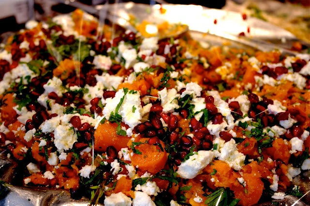 Roasted butternut squash, pomegranate, goats cheese and rocket salad.