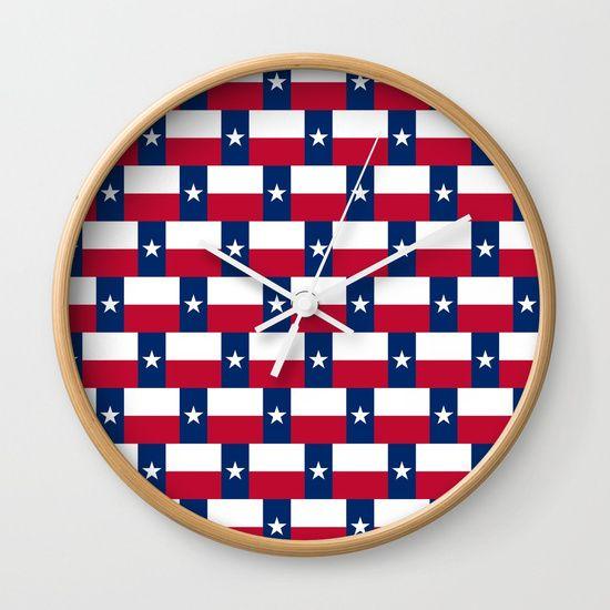 Texas Flag Pattern Wall Clock