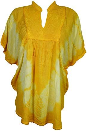 d60611defd0 Womens Poncho Top Blouse Tie Dye Soft Touches Embroidered Peasant Tunic  Onesize