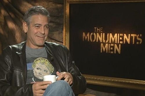 George Clooney shows his support for Ukraine, wearing a t-shirt featuring imprisoned pro-Ukrainian politician Yulia Tymoshenko while promoting his next movie.