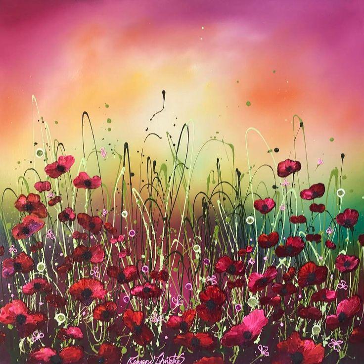Leanne Christie @Bucksfineart #Poppies #Pink #Flowerscape #Art
