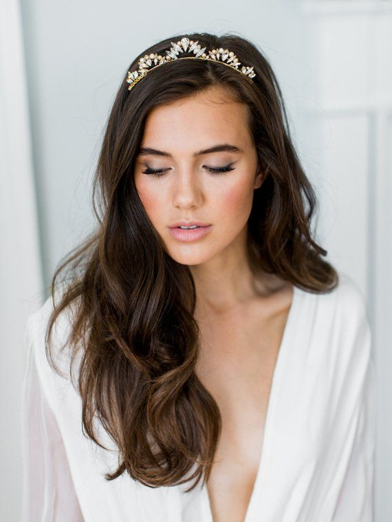LIA crystal pearl tiara bridal comb, glamorous delicate art deco wedding crown, glam vintage scalloped boho headpiece
