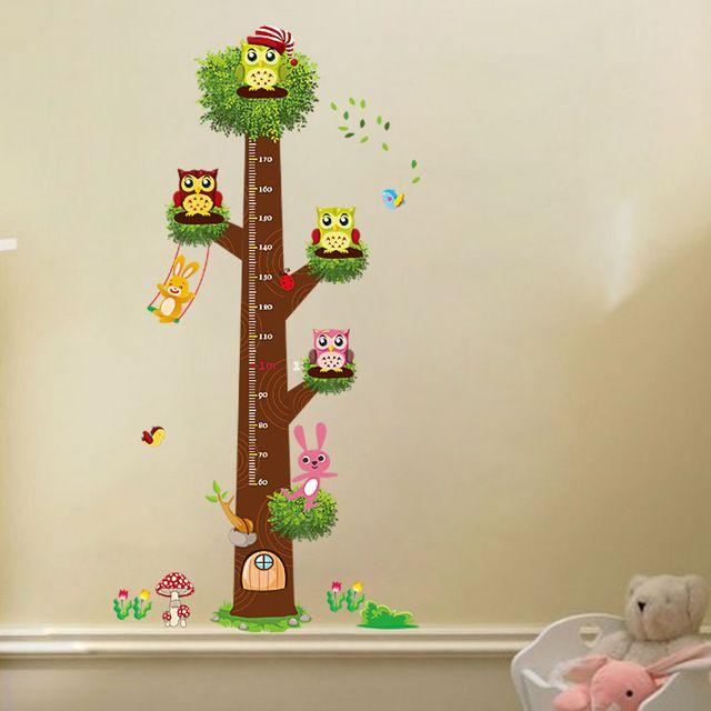 Novo Design tamanho grande coruja decalque da parede crianças decalques da parede do berçário altura de medição adesivos de parede para crianças Room Decor frete grátis