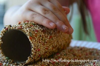 The Moffatt Girls: Toiletpaper Roll Bird Feeders!  Super easy craft for kids to make for the hungry birds this winter!