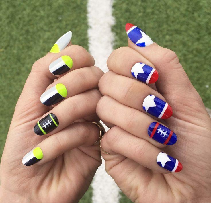 Superbowl Nails Seahawks vs Patriots ______________ love, @JessicaWashick u dont need a man. u need a manicure. | instagram me