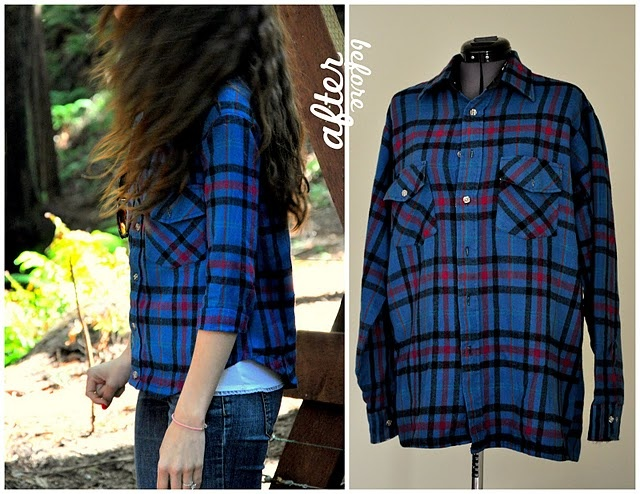 turn a huge lumberjack-sized flannel into a cute 91775e1bfd078