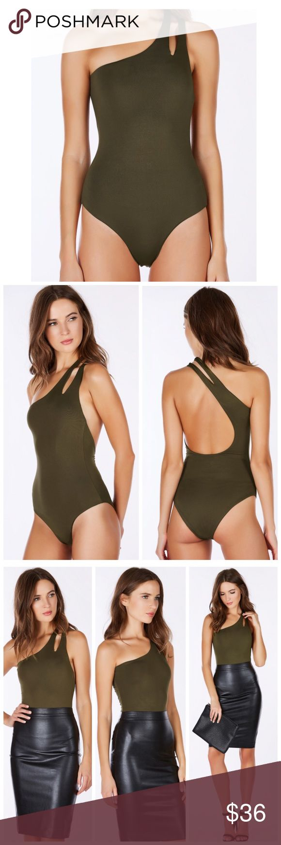 ✨Brand New✨ One Shoulder Bikini  Get the celeb look in this sexy one piece! Gorgeous one shoulder design with flirty split shoulder straps. Amazing smooth material with a great stretch. Deep cut out in back for a seductive finish. Wear it by the pool as a bathingsuit or paired with bottoms as a bodysuit! Brand listed for exposure Polyester-Spandex blend Runs true to size Hand wash cold Zara Swim One Pieces
