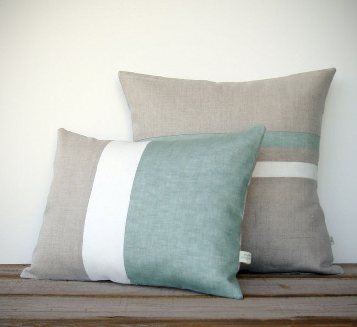 Salvia Colorblock y rayas Almohada Set  rayas por JillianReneDecor, $135.00
