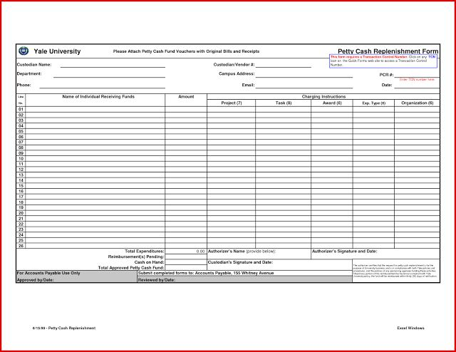 Petty Cash Reconciliation Form Template  AccountingPetty Cash