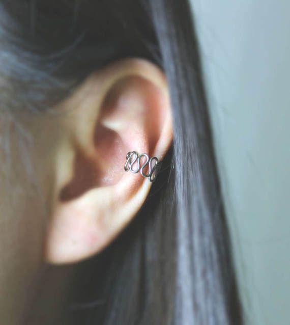Sterling Silver Mesh Ear CuffOxidized No Pierce Ear Cuff by Hesys