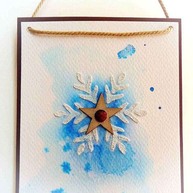 kartka ze śnieżynką i kleksem