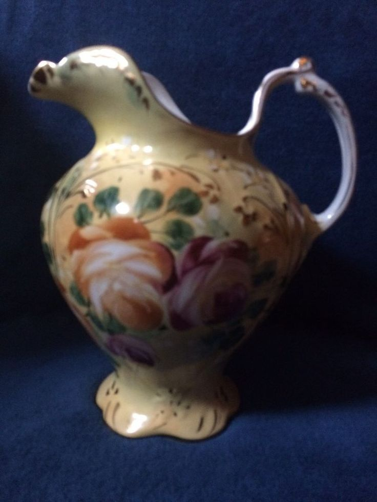 Limoges China Water Pitcher Yellow w/Painted Roses circa 1990's  PRICE REDUCTION