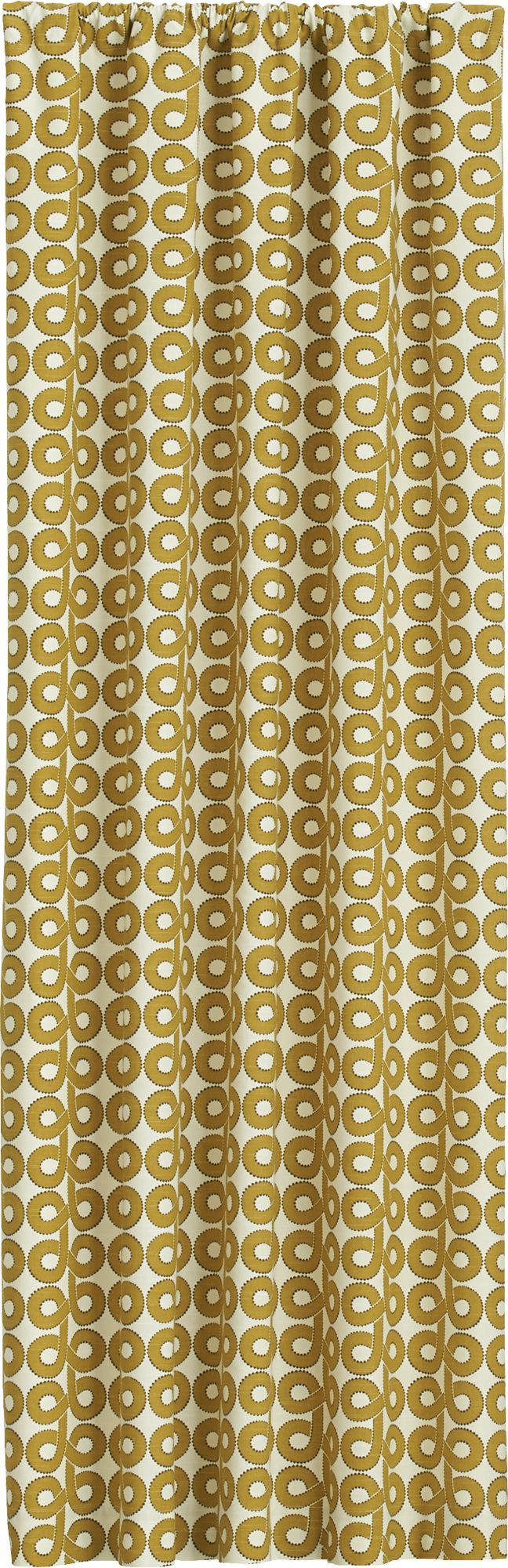 """Mid-century loops scale up to a contemporary graphic in a neutral palette with a pop of yellow.  Pattern is printed on slubby, textured cotton for added interest.  Lined curtain has a 3"""" rod pocket and a generous 3"""" hem.  Curtain accessories also available. 100% cottonLining is 70% polyester and 30% cotton3"""" rod pocket, 3"""" hemDry cleanMade in United Arab Emirates."""