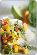 Cod with Mango Salsa Looking for a healthy recipe but don't have much time to cook? This tasty dish will be on the table in minutes! Serves: 6 Preparation time: 20 minutes Cooking time: 10 minutes