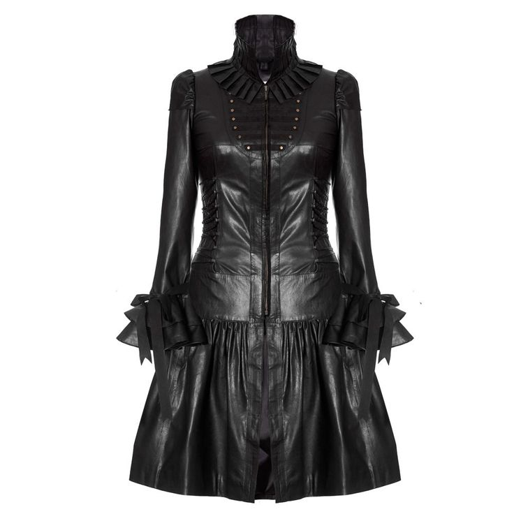 Impero London Ladies Black Full Length Leather Corset Dress Coat #ImperoLondon #OtherCoats #Casual