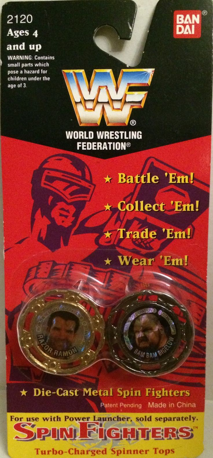 (TAS031978) - Bandai WWE Wrestling Spin Fighters - Razor Ramon & Bam Bam Bigelow