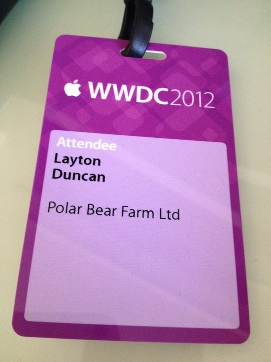 Apple continue to suck at conference badge design. Single sided, tiny names.