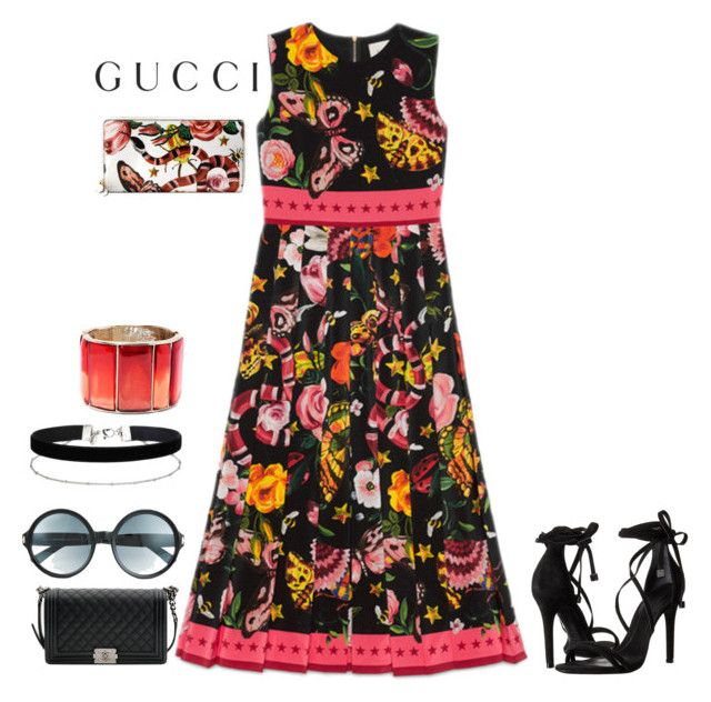 """""""Presenting the Gucci Garden Exclusive Collection: Contest Entry"""" by xio24 on Polyvore featuring Gucci, Schutz, Chanel, Tom Ford, Miss Selfridge, Oscar de la Renta and gucci"""