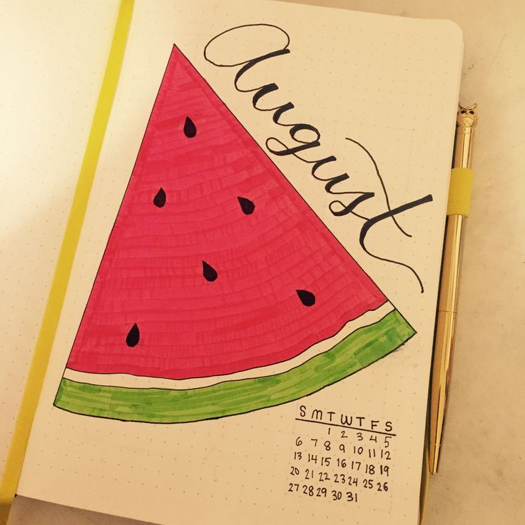 Bullet journal August monthly watermelon